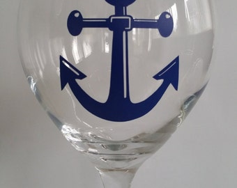 Wine Glass - Blue Anchor