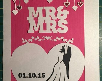 Papercut Template - Mr & Mrs Wedding Papercut Template Customised