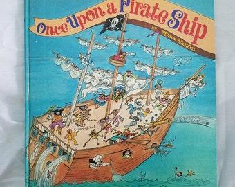 L@@K!!Rare Once Upon A Pirate Ship by Mircea Vasiliu 1974 Children's Golden Book
