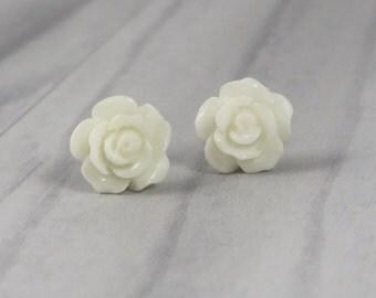 White Rose Stud Earrings. Wedding, Rockabilly, Pin Up, Retro, Psychobilly Jewellery