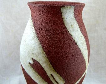Red stoneware ceramic vase