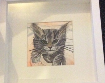 Kitten watercolour in deep edge frame and mount