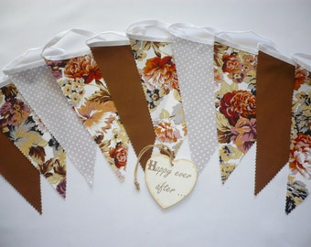 "3 Metres Gorgeous Autumn Brown & Grey Floral - Wedding / Celebration Fabric Bunting ""Cocoa"""