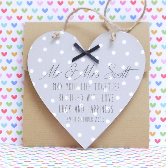 Personalised Wooden Heart Wedding Gift : Personalised Handmade Wedding Wooden Heart by DebSmithDesign