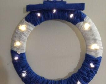 Tardis Doctor Who police box handmade light up wreath bbc