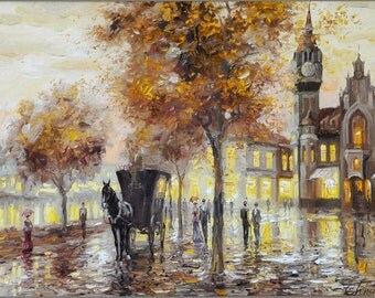 "Ukrainian original oil painting on linen canvas ""Berlin"" by Topchiy"