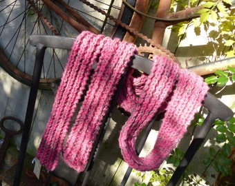 Hand Knitted Pink and Grey wool scarf