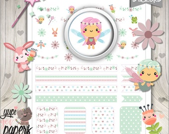 Fairy Stickers, Planner Stickers, Bunny Stickers, Planner Accesories, Digital Stickers, Sweet, Flower Stickers, Bunny, Fairy Tale