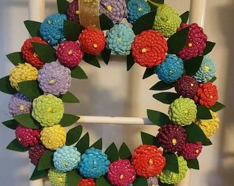Zinnia wreath. Zinnia flowers. Painted pinecones.pine cone wreath. Painted zinnias. Pinecone zinnia wreath.