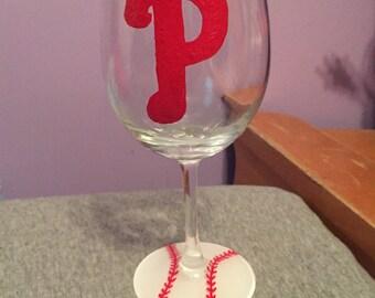 Phillies wine glass