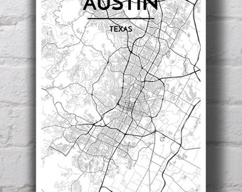 Black & White Austin City Map Print