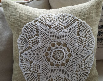 """Burlap and Vintage white lace and rhinestone  14"""" pillow"""