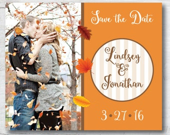 Save the Date, Fall Save the Date, Leaves Save the Date, Wedding Save the Date, Engagement Photo, Deposit