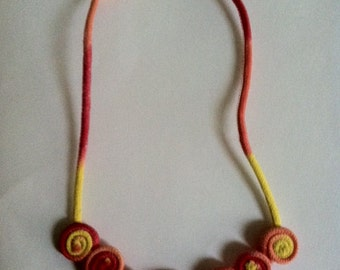 Tie Dye Necklace (made with clothesline)