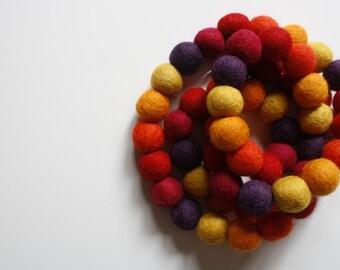 Felt Ball Garland - Pom Pom Garland - Felt Ball Garland - Fall Garland - Colorful Garland, Banner, Wall Decor - Autumn Garland - October