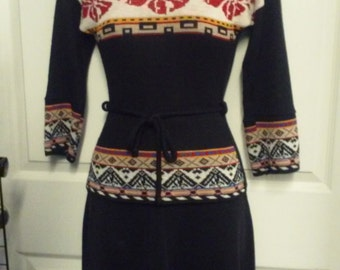Vintage 70's knit sweater and skirt set