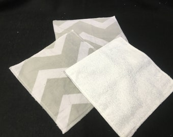 Baby Cloth Wipes grey chevron set of 4