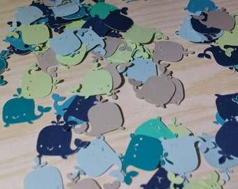 baby shower confetti, nautical baby shower, whale confetti, whale table decorations, nautica party, die cut whale, baby whale confetti