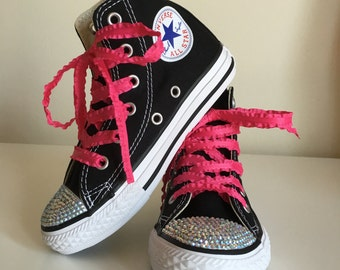 Pink and Black Rhinestone Converse Shoes, Rockstar Shoes