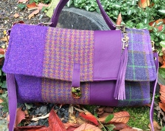 Shades of Purple Harris Tweed and Leather Bag