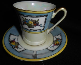 3 Noritake Hand Painted Made In Japan Lusterware / Cup and Saucer Blue / Cream