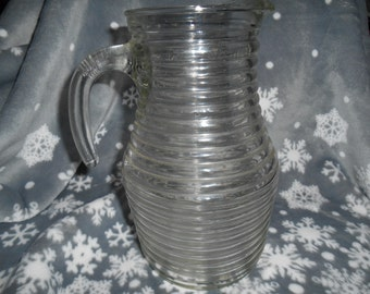 "Vintage Cisper Brazil Clear Ribbed Pitcher 9 1/2"" tall l.5L (signed Cisper on handle)"