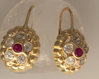 stunning vintage red leverback earrings