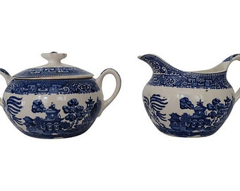 Blue Willow Sugar and Creamer - Blue Willow China