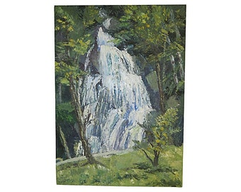 Vintage Waterfall Landscape, Original Art, Oil on Canvas, Vintage Art