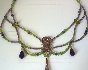 Victorian necklace - Crystal & brass