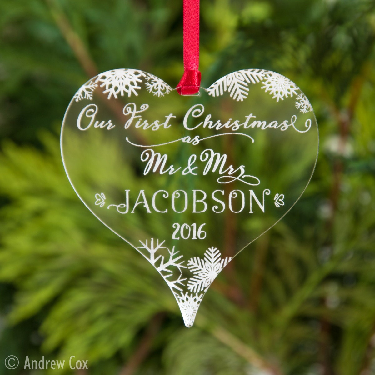 First married christmas ornament - Our First Christmas As Mr Mrs Personalised Baubles Snowflakes Etched Hanging Heart Xmas Tree Decoration