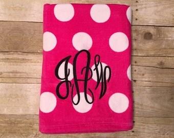 Monogrammed Polka Dot Beach Towel - Monogrammed Beach Towel