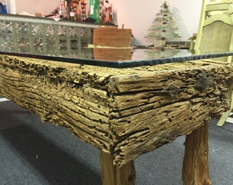Unique weathered barn wood coffee table