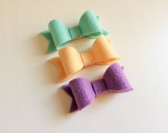 Set of three Susan bows - icy blue, peach skin and lavender purple - headband - clip