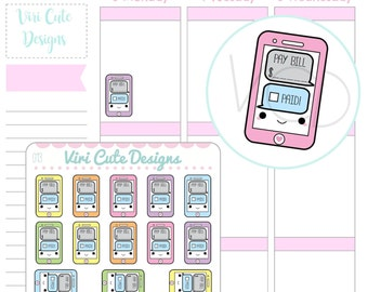 Kawaii Phone Bill Planner Stickers, Bill Reminder Stickers, Pay Bills Stickers, Phone Bill ...
