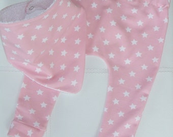 Girls Baby/Toddler Leggings & Dribble Bib Set.  Pink With White Stars.  Emma's Bambino Handmade From Quality Stretch Cotton.
