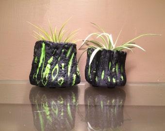 Bonsai Pot Pair - Green Lava Series, 2 micro plant pots sculpture Vase