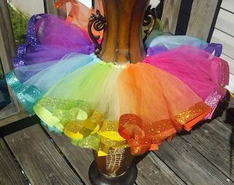 ribbon tutu /glitter rainbow ribbon tutu /solid color or multi color ribbon tutu / mix match color ribbon tutu