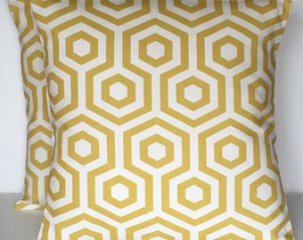 2 x Handmade Prestigious Textiles Hex Saffron White Cushion Covers