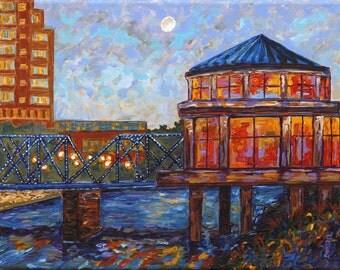 Grand Rapids Blue Bridge, Grand Rapids Public Museum Carousel, Michigan Painting, Fine Art Giclee, Museum Carousel