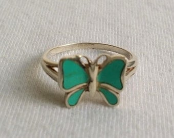 Vintage 925 Sterling Silver Turquoise Inlay Butterfly Ring Size 6