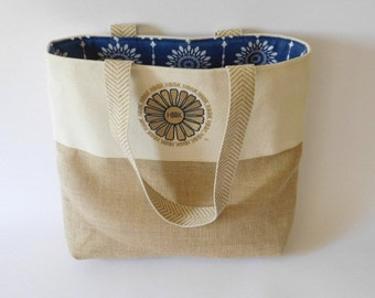 Handmade burlap and canvas tote with navy embroidery