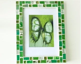 5x7 frame - Mosaic photo frame - Green frame - Photo frame 5x7 - Picture frame 5x7 - Green frame set - Mosaic art - Gift for her