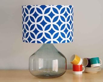 Geometric Blue, 30cm diameter Drum Lampshade