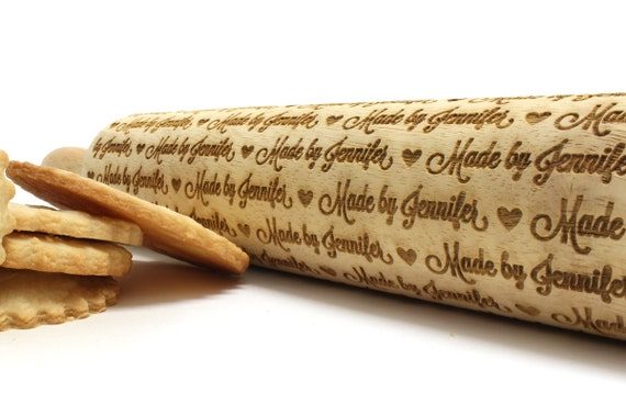 "PERSONALIZED Made By ""Your Name Here"" Laser Engraved Rolling Pin"