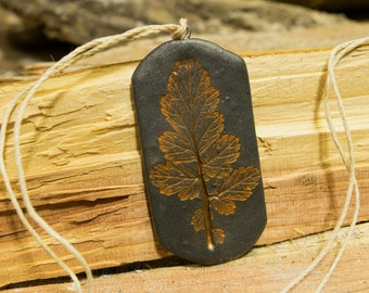 Metallic Slate and Orange Leaf Imprint Pendant Necklace