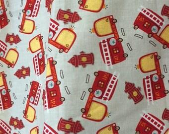 SALE/Childs Firetruck Apron Reversible, kitchen apron, childs apron, girl apron, boy apron