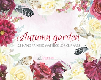 Watercolor clipart. Feather clipart. Floral clipart. Flowers clipart. Floral Watercolor clipart. Rose watercolor clipart.