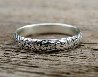 Sterling Silver Ring, Antique Ring, Wedding Band, Floral Design