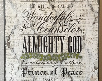 Isaiah 9:6 print of original mixed media artwork with hand lettering